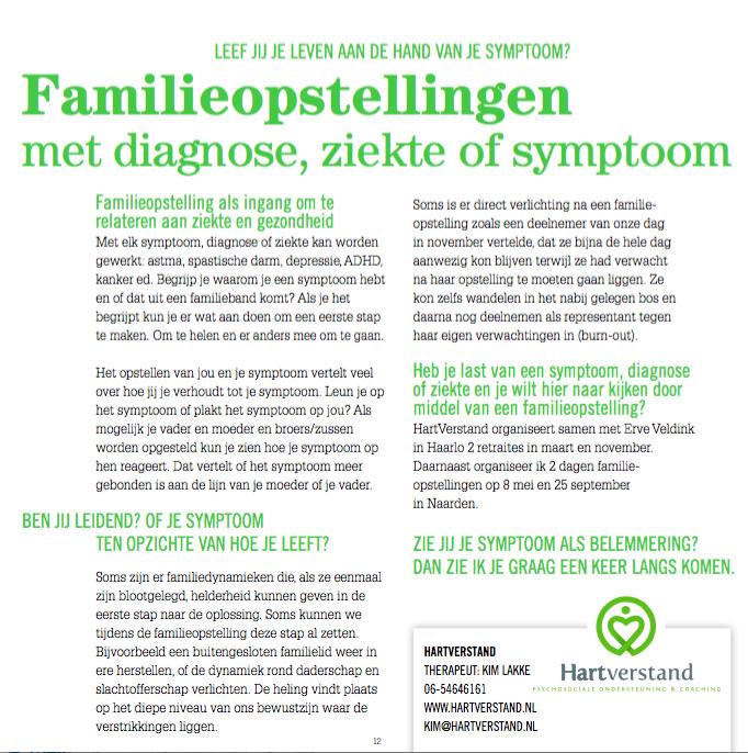 FAMILIEOPSTELLINGEN MET DIAGNOSE, ZIEKTE, SYMPTOOM